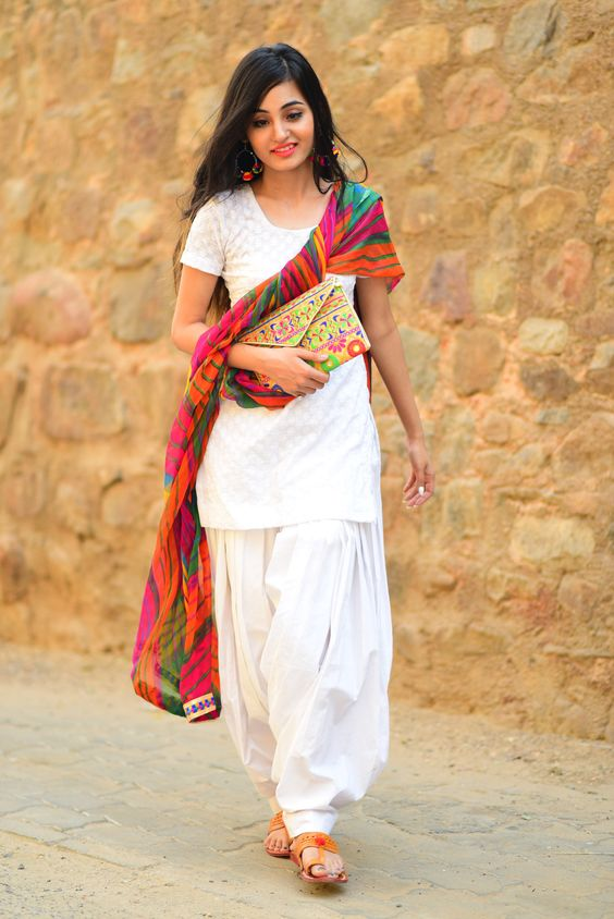 White With A Colorful Dupatta Folder