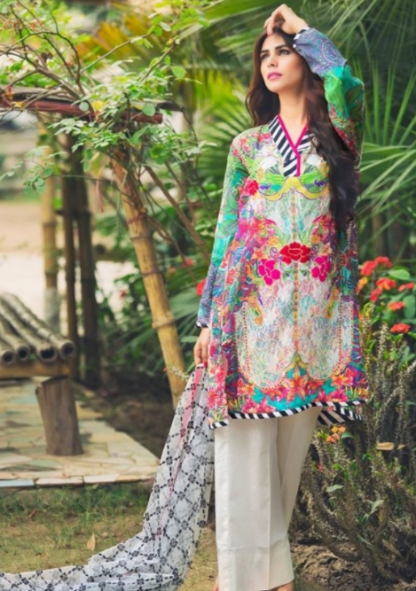 7b1d53e911 Here is a stunning shalwar kameez suit which is going to be your favorite  in the summer season. This suit has a colorful floral kameez with the plain  white ...