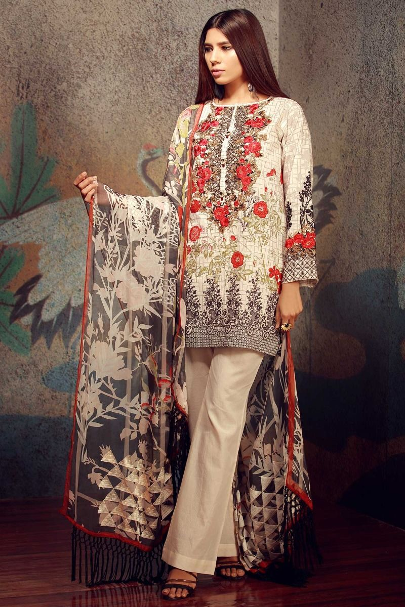 4408257b87 How trendy and chic does this design look? I am in love with this off white  lawn suit that has a combination of other colors and looks absolutely  beautiful.