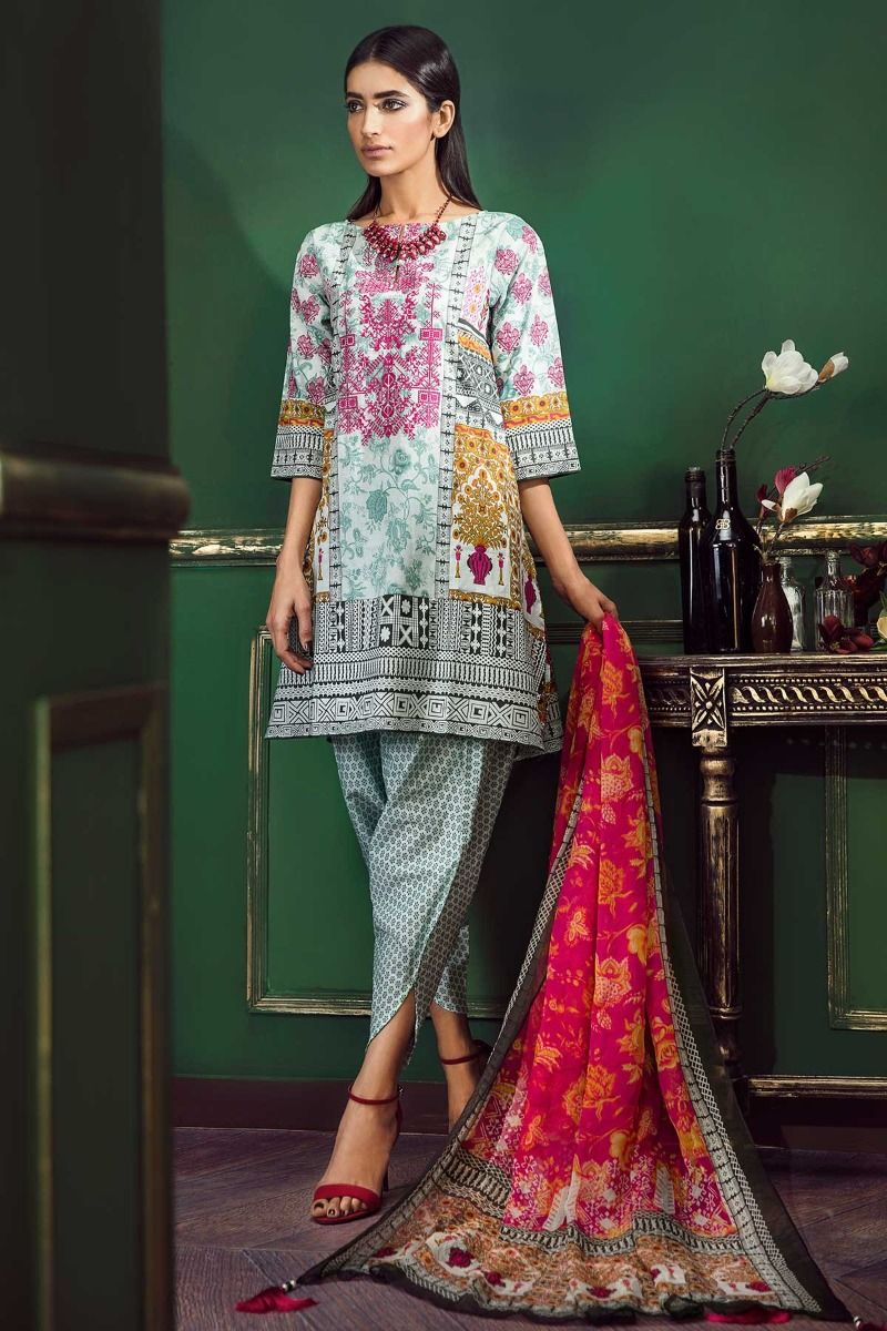 470f726917 This is a yet anther stunning lawn suit that is going to be your new  favorite. This green suit with the most beautiful print and multi colored  embroidery ...