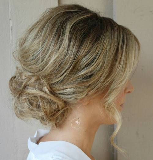 Low Loose Bun Hairstyles For Weddings: Messy Bouffant With A Low Bun